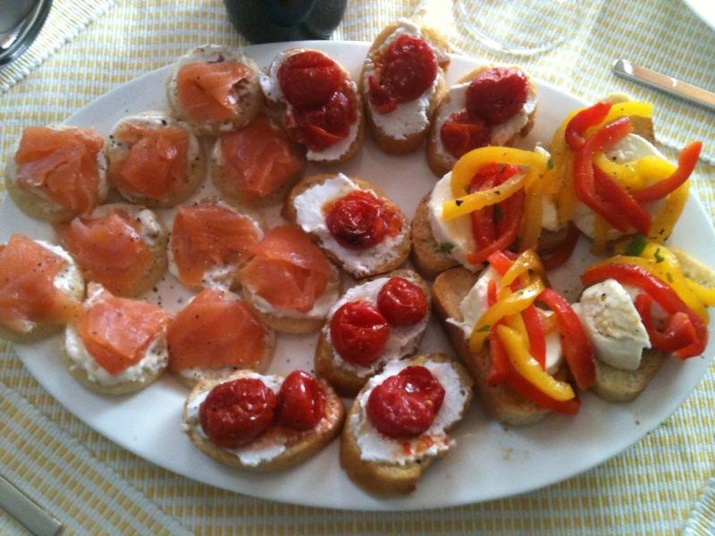 Mozzerella and marinated pepper brushetta gastrogiddy for Canape platters